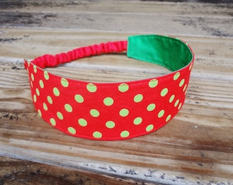 Fabric Headband with Elastic: Red and Green Polka Dots Holiday Accessory