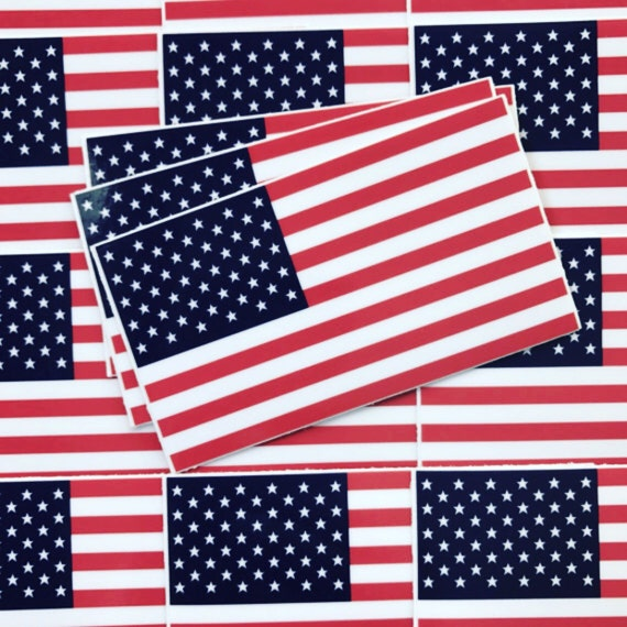 Weatherproof Vinyl Sticker - American Flag - Unique, Fun Sticker for Car, Luggage, Laptop - Artstudio54