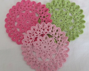 Small Crochet Doilies, 5 inch size doilies, set of 3