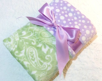 CLEARANCE SALE - NOW just 20 dollars - Ready to Ship -Minky Baby Blanket - Light Green Paisley with Lavender Bubble  Dot Minky - Crib  Size