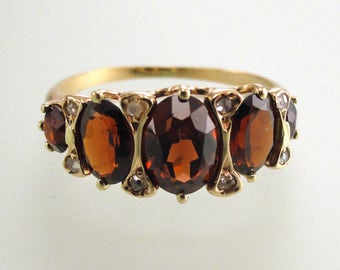 Antique Rich Red Garnet and Rose Cut Diamond Ring, Circa 1900, Made of Yellow Gold (A1882)