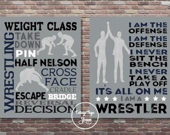 Wrestling Poster, Set,I Am A Wrestler,DIGITAL, YOU PRINT, Wrestling Typography, Wrestling Print, Wrestler Poster, Gifts For Wrestlers