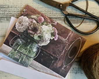 Zinnia Note Card, photo, barn door