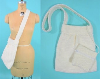 1960s shoulder bag | white crochet handbag | handmade knit vintage bag