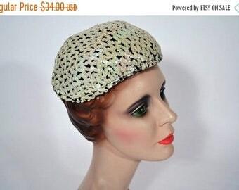 SALE // 1950s sequin hat 50s fun white evening cap