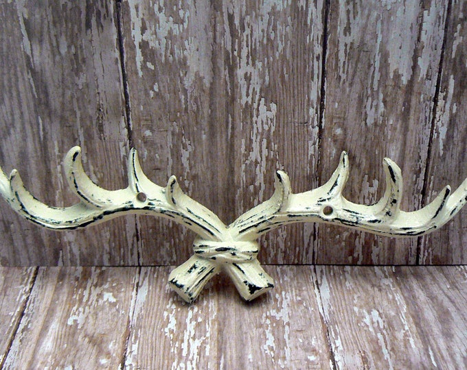 Deer Antlers Wall Hook Cast Iron Off White Shabby Elegance Cabin Hunter Rustic Man Cave Points Jewelry Leash Hat Kitchen Nursery Decor