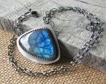 Labradorite Teardrop Pendant Necklace, Sterling Silver Chain and Stone Pendant