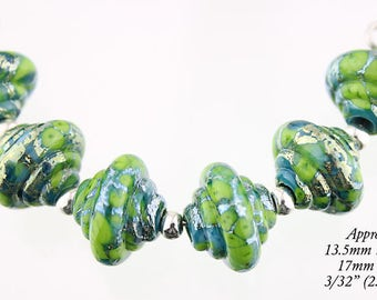 Lampwork Bead Set, 6 Silvered Lime and Turquoise Murano Glass Baroque lampwork beads - Made to Order, Bims Bangles, glass beads, silver foil