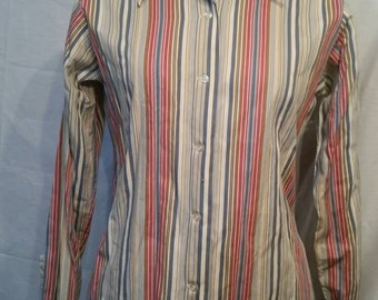 Vintage striped 70s butterfly collar blouse, 18, 40""