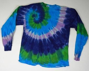 Great Lakes Spiral Tie Dye Shirt (Gildan Heavy Cotton Longsleeve Size L) (One of a Kind)
