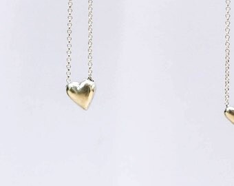 Medium Chubby Heart sterling silver necklace pendant.