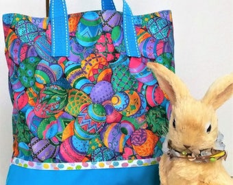 Easter Eggs Tote, Bookbag, Organizer, Overnight Bag, Candy Easter Gift Bag, Embroidered with Childs Name