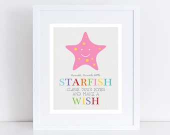 "twinkle little starfish nursery art - 10x8"" or 5x7"" print colourful sea ocean beach nursery decor nautical boy girl gender neautral bright"