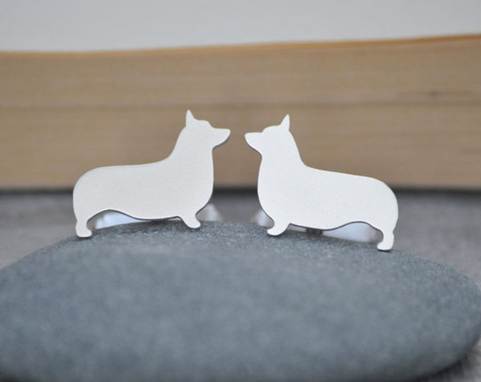 Corgi Cufflinks In Sterling Silver With Personalized Message On The Backs, Handmade In The UK