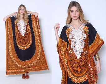 Vintage 70s CAFTAN Ethnic DASHIKI Print Maxi Dress Hippie Dress EMBROIDERED Boho Dress