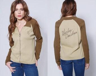 Vintage HARLEY DAVIDSON Sweater Knit Biker Jacket Official Harley Cardigan