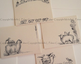 "Litchfield Hill Notepaper Stationery by Michelle L. Palmer 4.25"" x 5.5"" CRAFT Sheep Folk Prim Wool Friends Gather Crow Sunflower 40 pages"