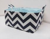 "SALE Diaper Caddy - Fabric Storage Basket - 11""x11"" Organizer Bin - Storage box - Diaper Bag - Baby Gift - Nursery Decor - Navy Chevron- RTS"