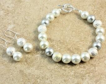 White Silver Sparkle Wedding Bracelet and Earrings Set Bridal Bridesmaid Bride