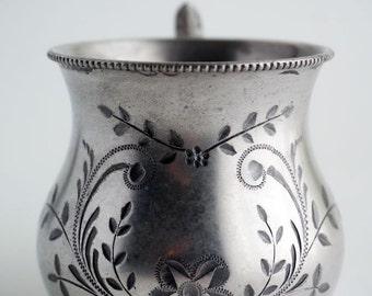 Antique Sliver plate baby cup, Gem Silver Co. quadruple plate silver 1007