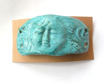 Stoneware Turquoise Fired Clay Face Long Domed Link Finding