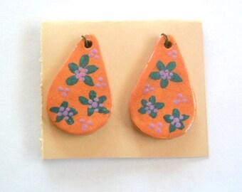Boho Folk Art Glaze over Terra Cotta Drop Bead Findings Pair