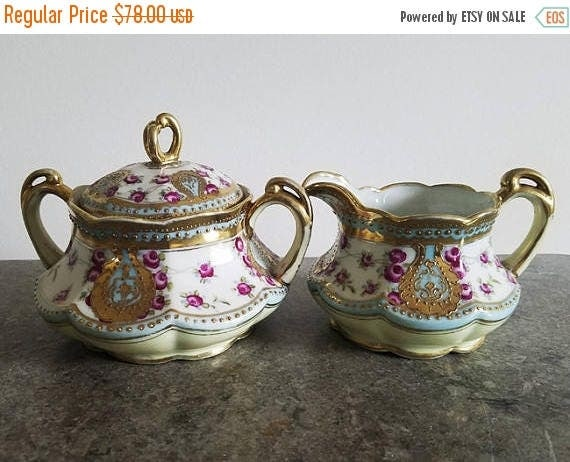 SPRING CLEANING SALE Antique Nippon Japan hand painted porcelain ceramic lidded sugar and creamer / eared with handles