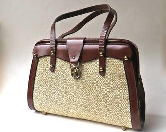 60s vintage Burgundy Leather and Natural Woven Cotton Fiber Tweed Handbag / John Romain Style Purse / Preppy Hipster Equestrian Handbag