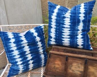Authentic African Tribal Indigo Mudcloth Pillow Covers  20x20    Boho Batik  Indigo Blue and White