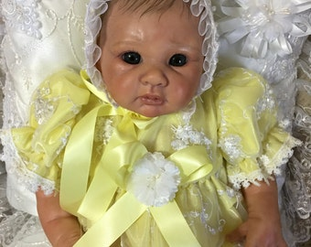 ROMPER  Yellow Tulle Pearls Satin for NEWBORN Baby or REBORN Doll 17 go 19 inch