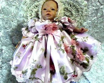 DRESS for REBORN or NEWBON Baby Pink Chiffon 3d Roses over Pink Organza