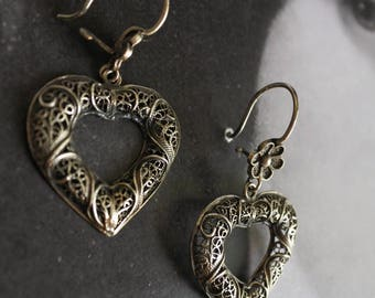 Hearts Portugal SILVER FILIGREE Earrings 925 Wedding Party Bride Bridal Statement Tradition Portuguese Heritage Filigrana