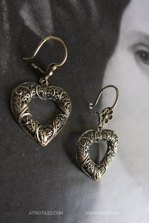 Hearts Portugal SILVER FILIGREE Earrings 925 Wedding Party Bride Bridal Statement Tradition Portuguese Heritage Filigrana
