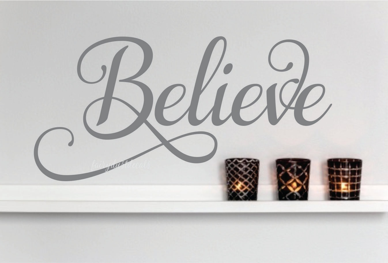 believe wall decal vinyl letters wall word lettering for. Black Bedroom Furniture Sets. Home Design Ideas