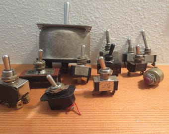 Lot of 12 Electrical Toggle Switches / Instant collection On Off Switches / altered art / assemblage / Randon Switches