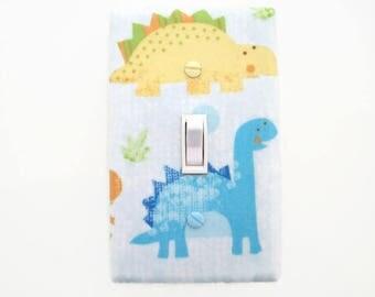 Dinosaur Light Switch Cover - Dinosaur Switch Plate Cover - Boys Dinosaur Decor - Blue Yellow Dinosaur Bedroom - Dinosaur Nursery - Girls