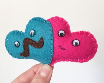 Two Hearts as one, cute heart plushie, same sex couple mini felt heart, heterosexual couple, two peas in a pod, mustache heart, HibouDesigns
