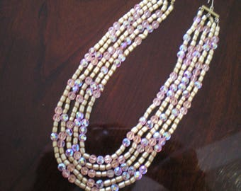Gorgeous Vintage  5 Strand Pink/Beige Crystal and Beaded Choker