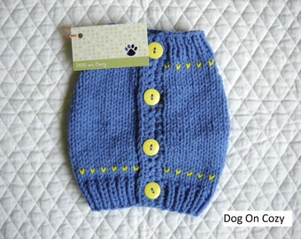 Dog Sweater Vest - XSMALL - with Buttons Up Back - Blue