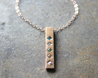 Rose Gold Birthstone Bar Necklace.  Rose Gold Family Totem Necklace.  Birthstone Necklace in Rose Gold. Family Necklace with Birthstones.