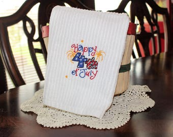 Happy 4th of July Embroidered Kitchen Towel