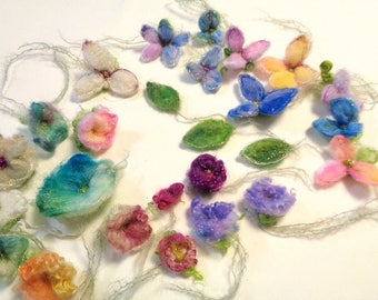 custom listing for joanne    - needle felted enchanted forest flowers