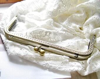 8 inch 20.5 cm -Antique brass purse frame, vintage style bag frame, big metal frame, large clutch frame F5
