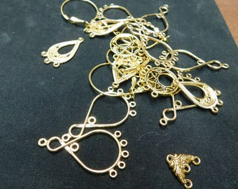 CLEARANCE -Assorted Gold Plated Earring Components