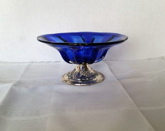 Cobalt and Silver Footed Bowl