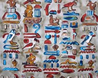 EGYPTIAN FABRIC - Timeless Treasures Sphinx Collection - Very Rare Hieroglyphics on Gray/Green - 1 Yard - E6
