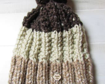 Shades of Brown Adult Hand Knit Hat with Jumbo Pom Pom Ready to Ship