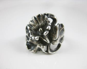 Size 6 1/2 - Vintage Ornate Sculptured Flower Sterling Silver Ring