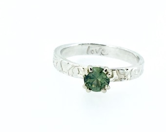 green Montana sapphire engagement ring . bohemian wedding . MT sapphire alternative engagement ring . size 6 ready to ship