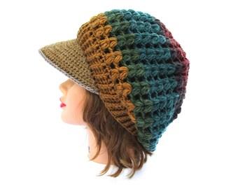 Crochet Cap In Warlock - Slouchy Hat with Brim - Brimmed Beanie - Visor Tam - Women's Newsboy Hat  - Multicolored Beanie